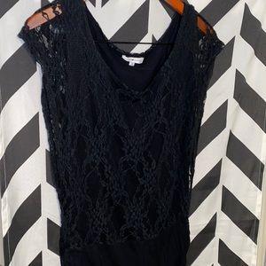 Cache Black Lace Drop Waist Tunic sz XL